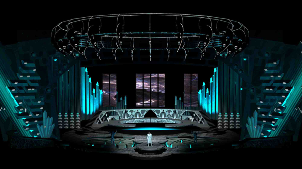 photo jaka vinsek church lighting design set series stage. best